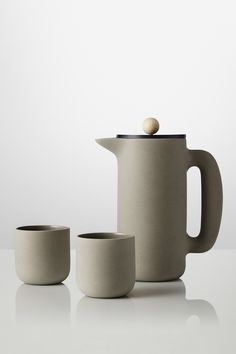 Muuto coffee plunger. Simple, tactile, and versatile: Mette Duedahl's earthy ceramics are beautiful but not precious. These are the kinds of pieces you'll use every day, and they'll bring you a lot of joy in the process. Danish minimalism.