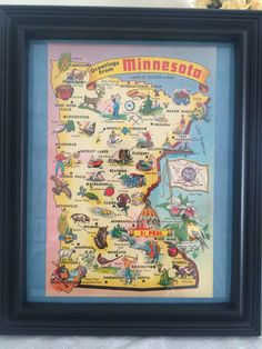 A personal favorite from my Etsy shop https://www.etsy.com/listing/502605752/8-x-10-framed-vintage-minnesota-map