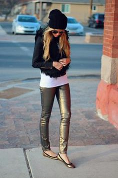 Black Beanie and Coat with Gold Pants and Flats