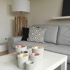 Teelichthalter - Windlicht, Beton Teelichthalter M, Kupfer-grau - ein Designerstück von erichfroese-manufaktur bei DaWanda