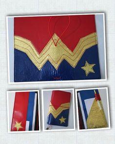 Custom appliquéd leather traveler's notebook inspired by the vintage Wonder Woman TV series. #labouroflove #handcraftedjournal #leatherplanner #planner #journal #wonderwoman #wonderwomantv
