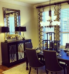 Dining Room / Balcony - WANT these curtains for the balcony doors. Beige  Black = PERFECT! Like this for living room decor instead