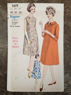 """1960s Vogue """"Very Easy to Make"""" Sewing Pattern"""