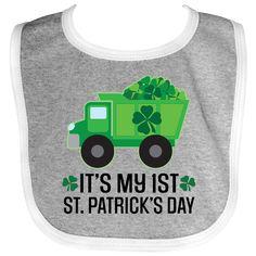 1st St Patricks Day Construction Truck Baby Bib Heather and White $12.99 www.homewiseshopperkids.com