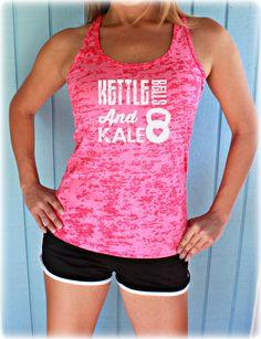 Burnout Workout Tank Top. Women's Active Wear. Kettlebells and Kale. Womens Inspirational Clothing. Fitness Motivation.