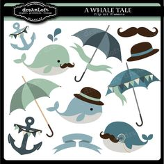 Whale Tale Clip Art Collection    11 Elements