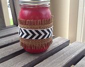 Red Painted Mason Jar with Chevron Ribbon and Burlap