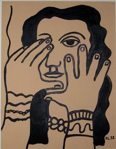Face and Hands, 1952, Ink on paper by Fernand Léger  Image via www.highendweekly.com via MOMA #art