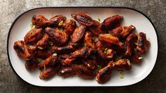 Baked Blackened Cajun Chicken Wings - These Cajun-flavored wings bake up beautifully then get a sweet glaze and a spin under the broiler to give them a crispy blackened skin. Cajun Chicken Wings Recipe, Best Chicken Wing Recipe, Chicken Wing Recipes, Chicken Seasoning, Baked Chicken, Chicken Meals, Lemon Chicken, Buffalo Chicken, Appetizers For Party