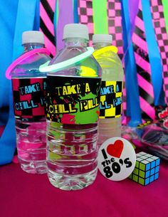 Printable Water Bottle Labels - 80 s party for Birthday Party, via Etsy.