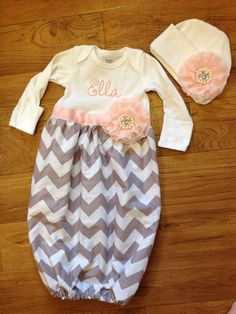 Baby girl take-me-home set in grey chevron and baby pink diva sack on Etsy, $47.00