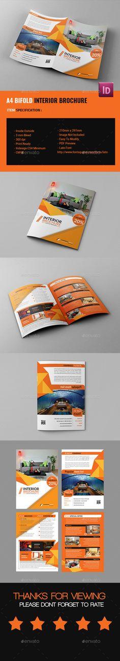 A4 Bifold Interior Design Brochure Template InDesign INDD. Download here: http://graphicriver.net/item/a4-bifold-interior-design-brochure/14669531?ref=ksioks