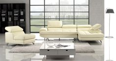 3pc Ivory Leather Sectional Sofa Set Chaise Chair Adjustable Headrest