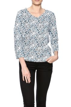 Baroque printed top with 3/4 sleeves and a v-neckline.   Baroque Heritage Top by Fresh Produce. Clothing - Tops - Long Sleeve Maryland
