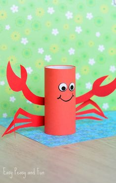 Toilet Paper Roll Crafts - Get creative! These toilet paper roll crafts are a great way to reuse these often forgotten paper products. You can use toilet paper Crab Crafts, Summer Crafts For Kids, Fun Crafts For Kids, Toddler Crafts, Diy For Kids, Easy Crafts, Craft Kids, Decor Crafts, Octopus Crafts