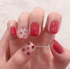Image about red in nail art 💕 by J O A N A on We Heart It Shared by J O A N A. Find images and videos about red, strawberry and nail art on We Heart It - the app to get lost in what you love. Cute Acrylic Nails, Cute Nail Art, Gel Nail Art, Cute Nails, Pretty Nails, Nail Art Designs, Short Nail Designs, Korean Nail Art, Korean Nails