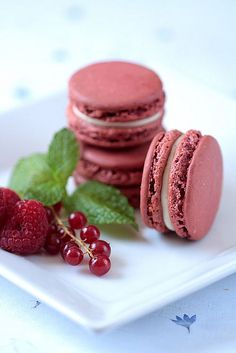 Red Berry Macarons with cream cheese buttercream filling by tartelette, via Flickr
