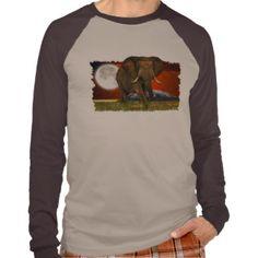 African Elephant & Savannah Moon Art Design  Shirt