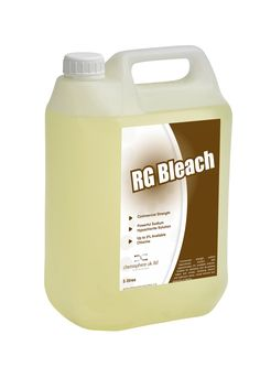 RG Bleach is a commercial strength sodium hypochlorite solution with approximately 5% avalible chlorine. Suitable for disinfecting and de-staining toilets and urinals, sterilising kitchen and bathroom areas, mould removal and bleaching of fabrics.