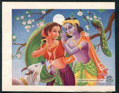 India Vintage Hindu God Radha & Krishna Stationery 2 Hinduism photo
