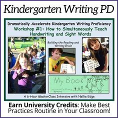 "Nellie Edge ""Kindergarten Writing Distance Learning: Best Practices to Grow Young Writers"" Teachers rave about LIVE Nellie Edge workshops! This 456-page 2020 MasterClass Intensive now provides the same tools for your SELF-DIRECTED DISTANCE LEARNING. Includes 10 video links, 50-plus printables, 0ptional university credit. #WritingPD #PD #NellieEdge #Kindergarten #Universitycredit #onlinelearning #SightWordWork #writing #handwriting #sightwords #distancelearning #independentstudy Kindergarten Handwriting, Teaching Handwriting, Kindergarten Literacy, Preschool, Guided Reading Lessons, Writing Lessons, Persuasive Writing, Writing Rubrics, Paragraph Writing"