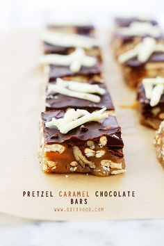Pretzel Caramel Chocolate Candy Bars - Soft, chewy and crunchy candy bars made with pretzels, caramel and chocolate!
