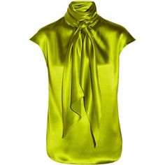 Oscar de la Renta Scarf-effect silk-charmeuse top ($365) ❤ liked on Polyvore featuring tops, blouses, shirts, oscar de la renta, chartreuse, keyhole shirt, shirts & blouses, ruched top, silk charmeuse blouse and loose shirts