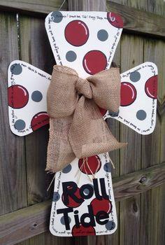 Alabama Wooden Cross Door Hanger by SweetSophieJacks on Etsy, $35.00