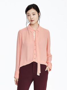 Long-Sleeve Crepe Tie-Neck Blouse
