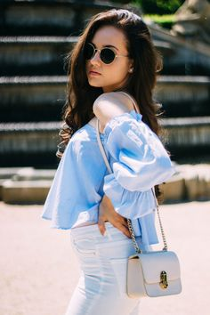 Top, pants & shoes from … Continue Reading White Jeans Outfit, Off Shoulder Tops, Jean Outfits, Winter Fashion, Ruffle Blouse, Womens Fashion, Blue, Style, Denim Outfits