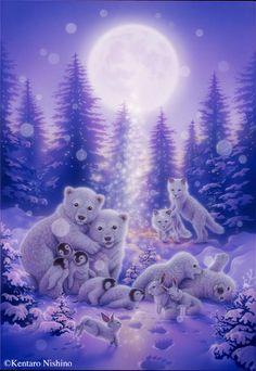 """Light Tree"" Polar Bears, Earless Seals, Penguins, Rabbits, Foxes 2013"