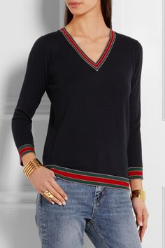Gucci | Stripe-trimmed wool sweater | NET-A-PORTER.COM