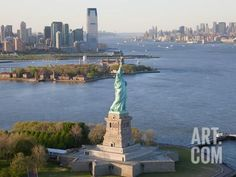 Photographic Print: Statue of Liberty (Jersey City, Hudson River, Ellis Island and Manhattan Behind), New York, USA by Peter Adams : Ellis Island, Hudson River, Vacation Places, Family Vacations, Jersey City, Travel Images, Amazing Architecture, Statue Of Liberty, Manhattan
