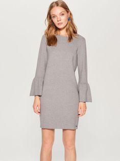 Sukienka z falbanami na rękawach - szary - UD856-90X - MOHITO Tie Backs, No Frills, High Neck Dress, Boho, Sleeves, Sweaters, Dresses, Fashion, Turtleneck Dress