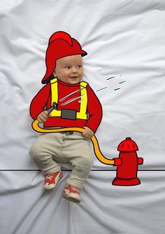 Teo de Mayor quiere ser Bombero. Fotografia & Ilustración Creativa de bebés y niños soñadores. bebé baby