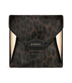 9f4715e120 Givenchy Chocolate Leopard Print on Calf Pony Effect Antigona Envelope  Small Bag