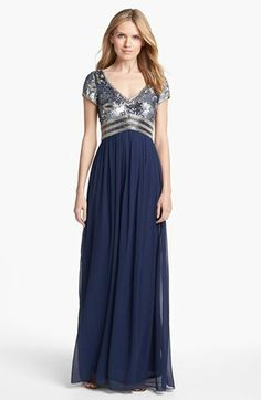 Adrianna Papell Embellished Cap Sleeve Chiffon Gown available at #Nordstrom