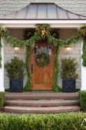love this garland swag; door garland; planters; symmetry (this is close to the color of my house sbr)