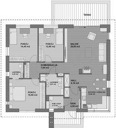 Rzut parteru projektu TK34 Modern Exterior, Planer, House Plans, Floor Plans, Flooring, How To Plan, Projects, Home Plans, Log Projects