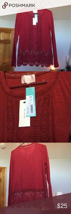 Blouse xs Skies are blue from stitch fix. Red/burgundy in color. Never worn with tags. Skies Are Blue Tops Blouses