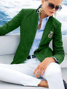 Green Blazer, White Pants, British Style, Types Of Sleeves, Shawl, School Days, My Style, Womens Fashion, Long Sleeve