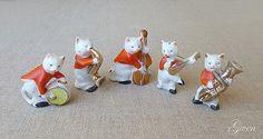 Antique-vtg-Tiny-Cat-Jazz-Band-Orchestra-miniature-Bisque-Porcelain-figurine