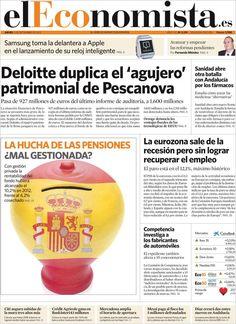Los Titulares y Portadas de Noticias Destacadas Españolas del 5 de Septiembre de 2013 del Diario El Economista ¿Que le pareció esta Portada de este Diario Español?
