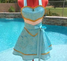 Princess Jasmine Inspired Sassy Apron, Girls Aprons, Womens Aprons, Plus Sizes, Aladin, Cosplay, Costume Party, Pin Up, Lolita, Sweetheart