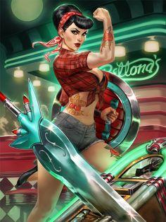 Smite Rock-a-Bellona by Scebiqu.deviantart.com on @DeviantArt - More at https://pinterest.com/supergirlsart/ #bellona #card #goddess #hirez #rockabilly #skin #smite #war #scebiqu #simoneckert