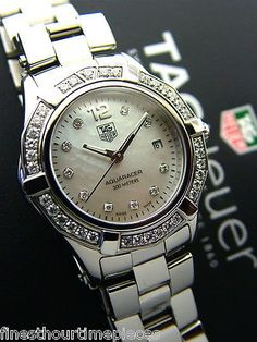Gorgeous women's Diamond TAG Heuer Aqua Racer Mother of Pearl watch WAF1418- rec'd for Christmas 2013!