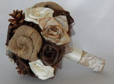Rustic Fabric Bouquet with Sheet Music Flowers by ElizabethsBlooms
