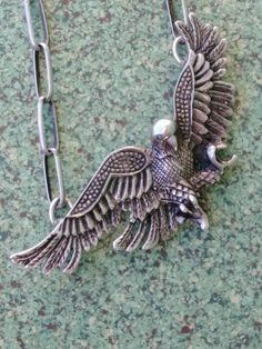 07501900844ab Vintage 1980s Necklace Flying Eagle Pendant Sterling Silver 23 Inch Chain