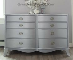 Chic and Shabby Furniture By Rebecca, Methuen, Massachusetts. Choose your unique Vintage furniture piece to be custom refinished, painted and. French Dresser, Grey Dresser, Vintage Furniture, Painted Furniture, Home Furniture, Pink Tub, Dresser Table, Dixie Belle Paint, Custom Paint