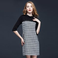 >> Click to Buy << European fashion elegance Plaid stitching slim dress with small collar cropped sleeves for Europe 2016 fall winter products #Affiliate